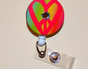 Heart Peace Sign Button Badge Reel