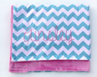 Monogrammed Chevron Baby Blanket, Chevron Monogrammed Blanket, Chevron Crib Blanket, Large Chevron Blanket, Personalized Blanket