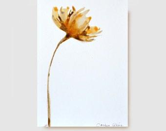 Original Fine Art Flower Drawing -Brown.beige,grey, sepia, watercolor, ink, botanic flower drawing by Cristina Ripper