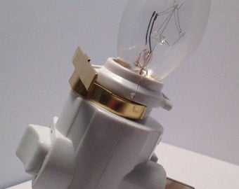 DIY Night Light Base with Clip and Bulb - DIY Craft Supply - Stained Glass Supplies - Make Your Own Plug In Night Light Fixture