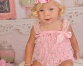 Light Pink Petti Lace Romper Set...Embellish Your Own Petti Romper....Shabby Chic Headband Set....Flower Headband Set...FOE Headband