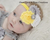 Gray, White & Yellow Triple Shabby Flower Headband - Grey Baby Girl First Photos - Spring or Summer Little Girls Hairbow