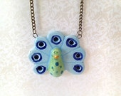 Light Blue Peacock Ceramic Necklace. Vintage Style Brass Chain. Green. Rhinestones. Whimsical. Woodland. Bird. Exotic. Under 25. Cute