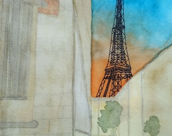 Eiffel Tower around the corner Original Watercolor Painting by Theresa Smith 8x10