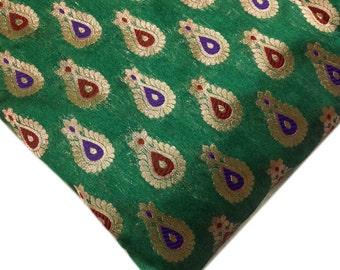 Emerald Green Red and Gold Chanderi Silk Fabric - Banaras Silk Fabric by Yard