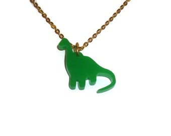 Green Brontosaurus Necklace, Laser Cut Dinosaur Pendant