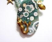 Mermaid Statement Necklace, Ocean Jasper, Malachite, Appetite, Pearls, Brass Charms, Glass Beads,