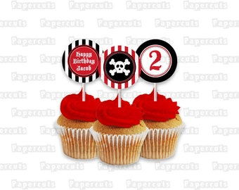 Printable DIY Red and Black Pirate Theme Personalized Happy Birthday Cupcake Toppers Digital File