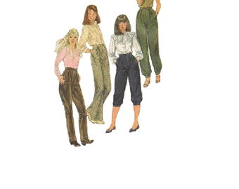 Simplicity 1980s Sewing Pattern Straight Leg Trousers Knickers Capri Genie Pants Pleated Waist Size 7/8