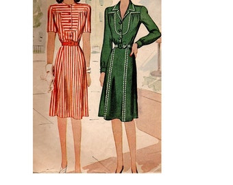 Vintage 1940s Dress McCall Sewing Pattern 5167 Casual Day Housedress WWII Style Fashion Straight Skirt Shaped Yoke Winged Collar Bust 32