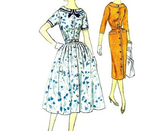 Simplicity 2423 Sewing Pattern Vintage Retro Rockabilly Style Swing Garden Tea Party Dress Flare or Fit Skirt Bust 37