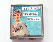 Funny pill case, Funny pill box, Pill Case, Pill Box, Square Pill case, 4 Sections, Square Pill box, turbulence, flight attendant (4232)