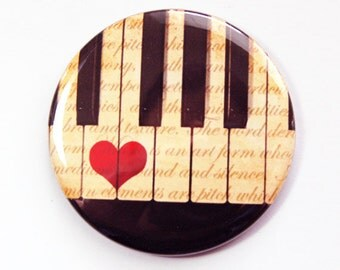 Pocket mirror, Piano Mirror, purse mirror, Gift for Music Lover, Gift for Piano Player, Pianist, gift for music teacher (3644)