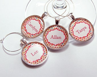 Wine Glass Charms, Custom Wine Charm, Personalized Wine Charms, Dots, silver plated, barware, entertaining, table setting, polka dot (4276)