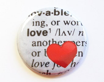 Pocket mirror, Love Mirror, purse mirror, gift for her, Black, White, Red, Love, Heart, Valentines Day, Heart Mirror (4331)
