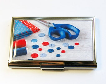 Needle organizer, Sewing supplies, Needle holder, Needle case, Sewing Needle case, Quilting Needle case, red, blue, Kellys Magnets (4411)