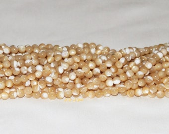"""Mother of Pearl Shell 5.5-6mm Round Bead - 15.75"""" Strand"""