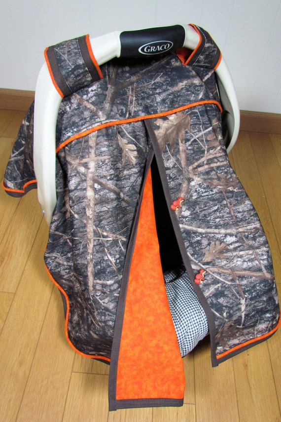 Camo Car Seat Canopy In True Timber Camouflage And Orange Baby Carseat Tent Infant Carseat