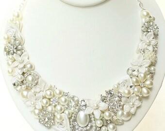 Soft Ivory Bib Necklace-Vintage Inspired Statement Necklace-Bridal Bib-Necklace-Pearl Bridal Necklace-Brass Boheme-Bridal Statement Necklace