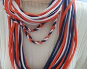 Recycled T Shirt Scarf Team Colors Navy Orange White