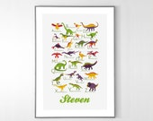 Personalized Dinosaurs Alphabet Poster from A to Z, BIG POSTER 13x19 inches - Baby Children Nursery Custom Wall Print Poster