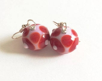Short dangle pink and red lampwork glass earrings