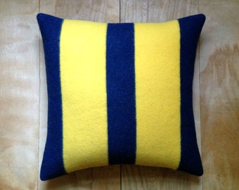 SALE Wool Camp Blanket Pillow - Stripes - 18x18 Navy Blue Yellow Nautical Rustic