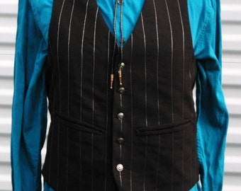 M Mens Steampunk Vest Silver and Black