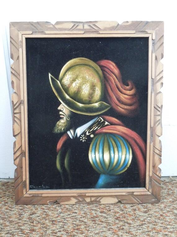 Vintage Conquistador Velvet Painting In Original Carved Wood