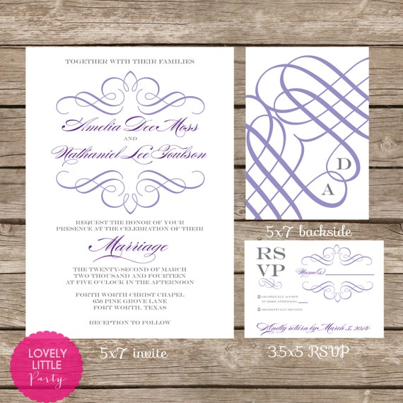 Amelia Collection Wedding Invitation and RSVP design - DIY Printable - Lovely Little Party - You Choose Color