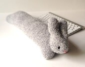 Heather gray bunny rabbit keyboard wrist rest, 19 inches long