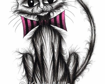 Fab cat Print download Fabulous groovy funky kitty puss moggie in stripey bow tie with a big curved tail looking really cute and friendly