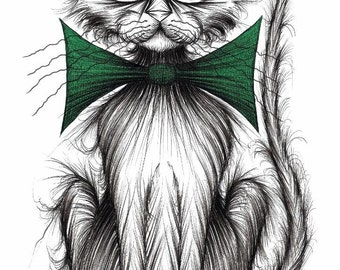 Posh puss Print download Important looking pet cat kitty puss pussycat wearing extra large fashionable trendy green bow tie Funny picture