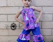 FREE US SHIPPING - Frozen Sisters 2 Piece Split-Back Summer Top with Matching Double Ruffle Capris - Birthday - Party - Celebrate - Girls