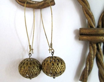 Vintage Brass Filigree Bead Earrings Long Kidney Ear Wires