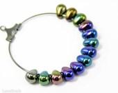 Glass Teardrop Beads 7mm (40) Czech Iris Blue Small Metallic Spacers