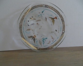 Vintage 60s glass art dish, gold turquoise Georges Briard collectible, home decor