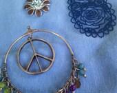 Hippie Fun 3 Piece Pendant Set, Flower, Peace Sign, Roses, Beaded