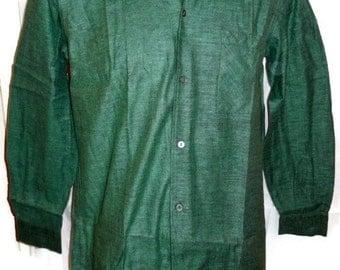 SALE DEADSTOCK Vintage Men's 1950s Shirt Unworn Cortina Cotton Flannel Herringbone Rockabilly M Chest 42