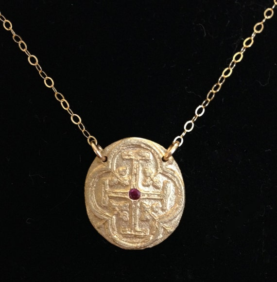 Medallion Necklace I in bronze and ruby or CZ