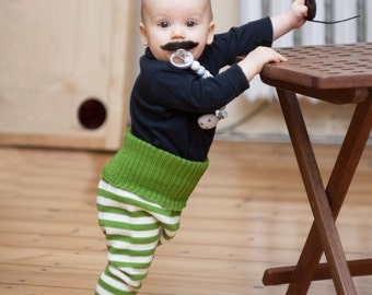 Baby Pants Trousers Leggings Clothing Knit Wool Warm Slim fit Boy Girl Wooden Button Milk white Green striped
