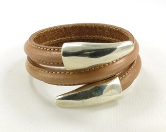 Open Cuff Bracelet, Spiral Bracelet Cuff, Tan Leather Cuff, Leather and Silver Bracelet, High Fashion Bracelet, Leather Fashion Jewelry
