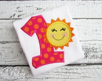 Birthday Shirt. Shocking Pink, Orange, Yellow 'You Are My Sunshine' Birthday Shirt/Bodysuit.Embroidered Personalized Appliquéd Custom Outfit