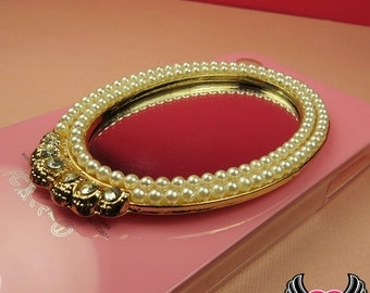 XL GoLD PEARL MIRROR with Crystals Decoden Cabochon Flatback Cellphone Decoration 80 x 55 mm