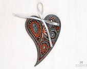 Valentines day wooden heart / red / painted heart /  Valentines gift / paisley ornament / home decor / FREE SHIPPING - NikaEthnica