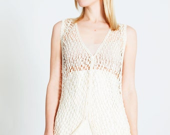 Tricot gilet with pearls