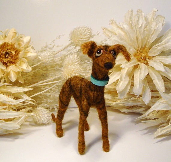 Greyhound, Brindle Greyhound, Galgo, Handmade Greyhound, Needle Felted Greyhound, Greyhound Gifts