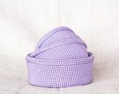 Organizer containers. Nesting bowls. Crochet storage Baskets. Pastel purple lavender. Eco-Friendly.