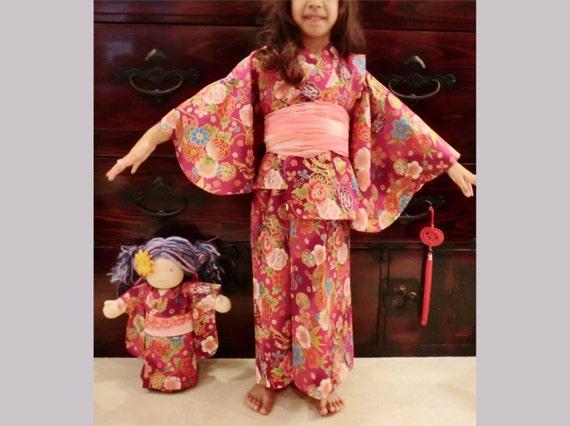 3 years old girl red kimono japanese yukata by