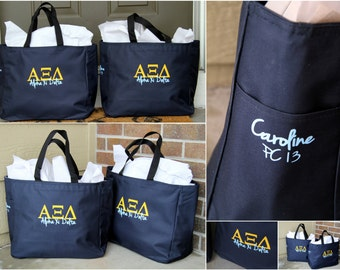 Personalized Sorority Tote Bag - ANY Sorority - Greek Letters, Sorority Name and YOUR Name on the bag too!